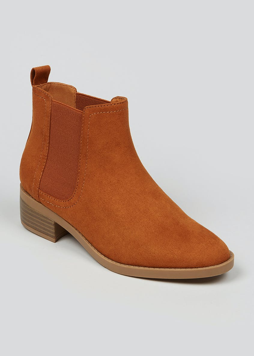 Tan Block Heel Chelsea Boot