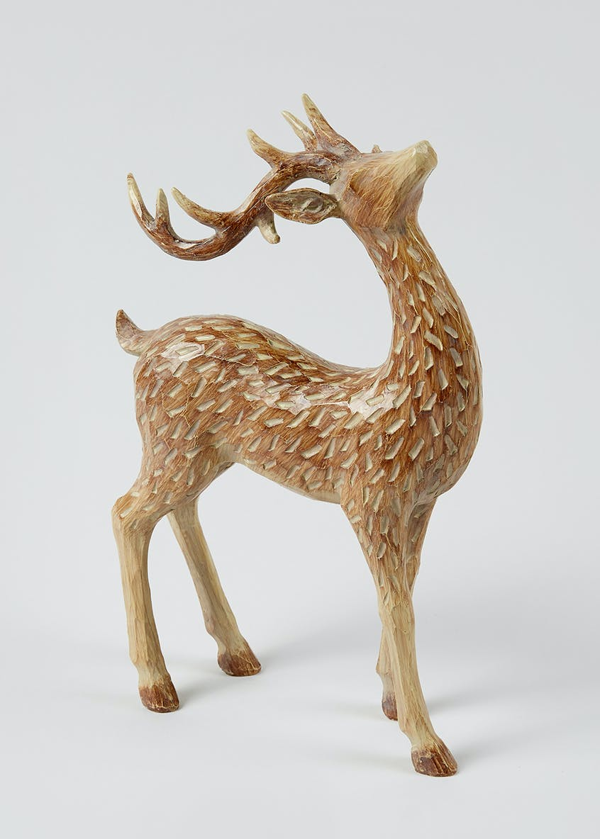 Carved Wood Effect Stag Ornament (31cm x 21cm x 11cm)
