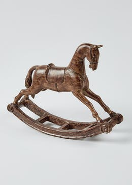 Wood Effect Victorian Rocking Horse Ornament (40cm x 30cm x 9cm)