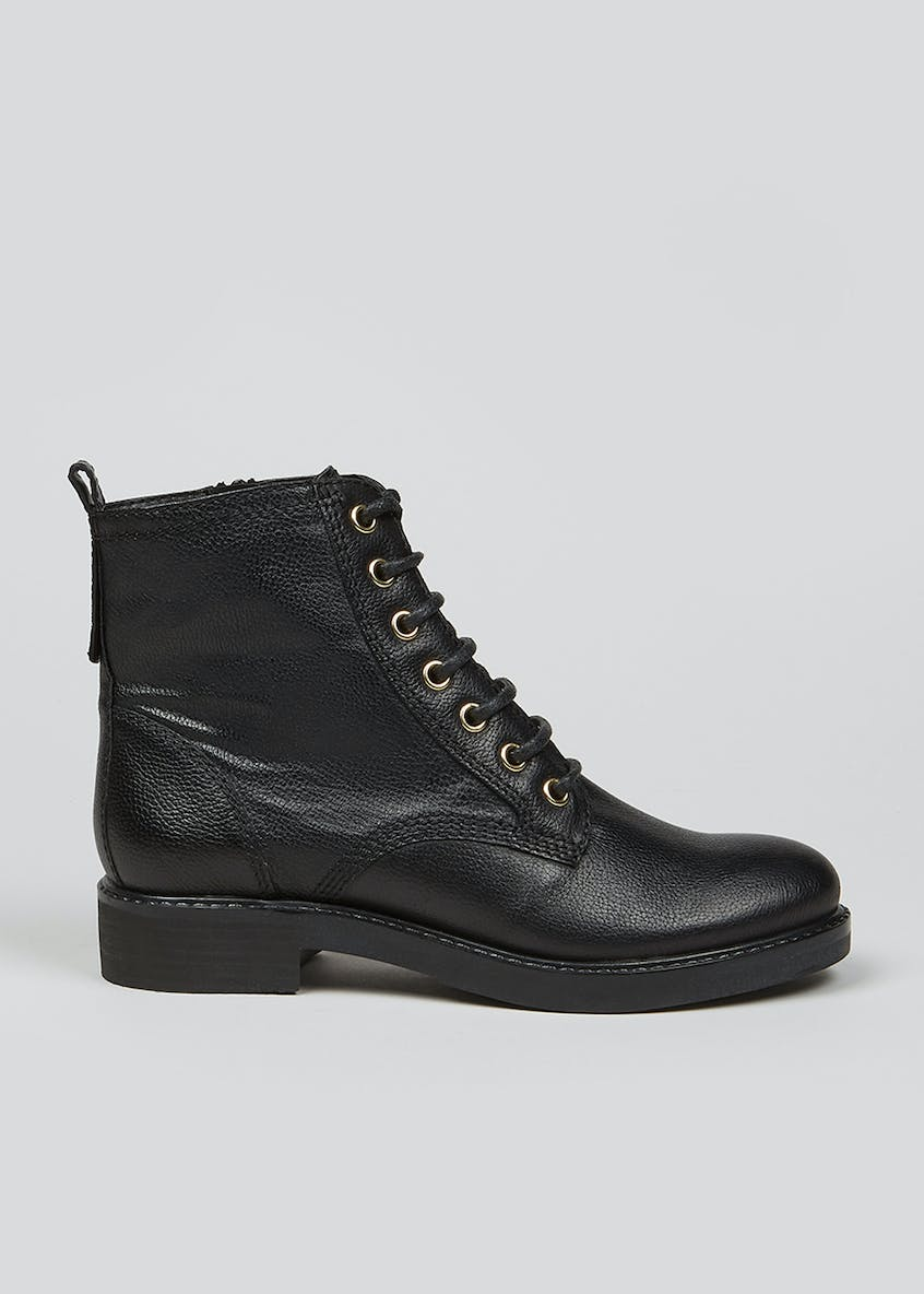 Soleflex Real Leather Lace Up Biker Boots