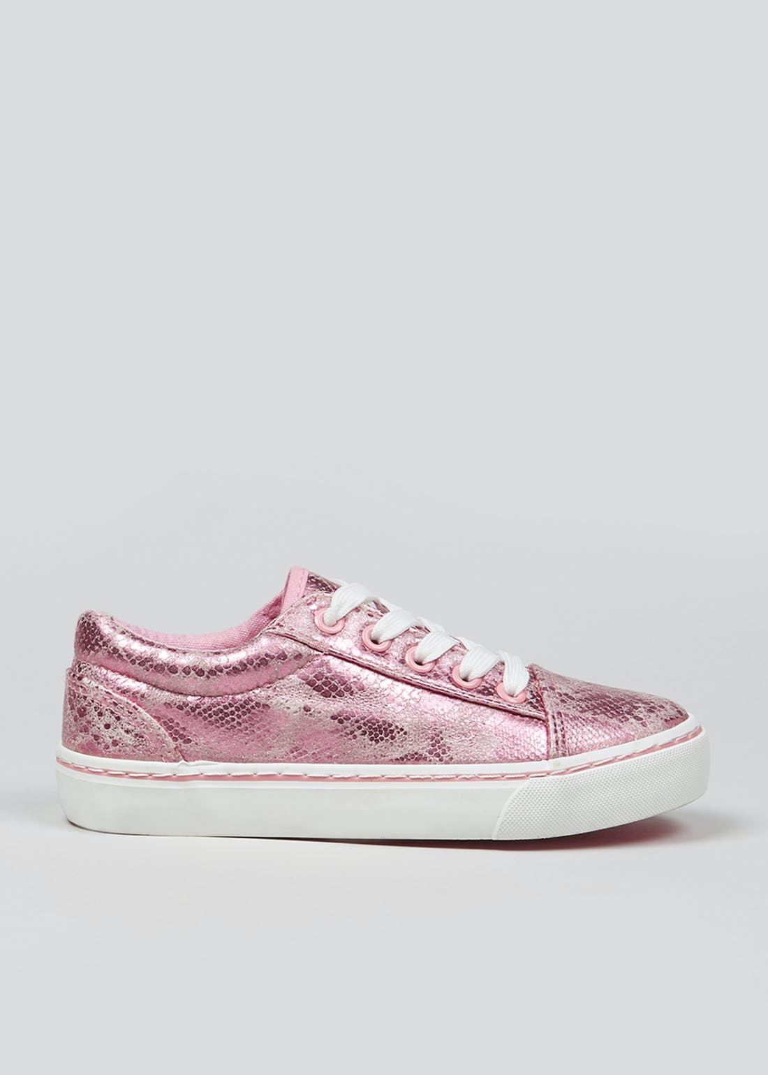 Girls Pink Lace Up Trainers (Younger 10-Older 5)