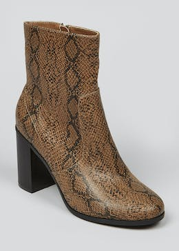 Brown Snake Print Boots