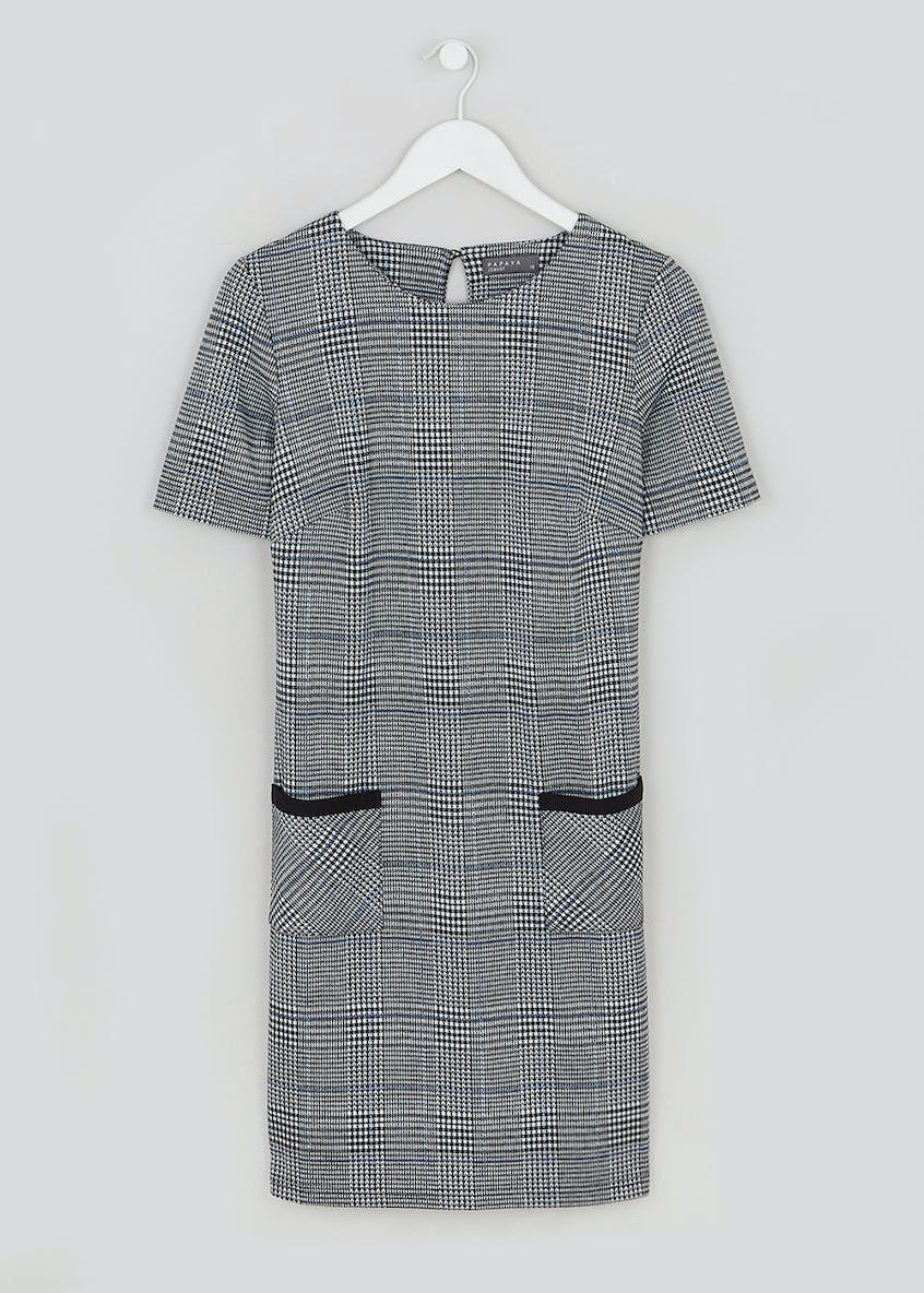 Check Ponte Shift Dress