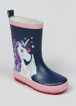 Girls Unicorn Rubber Wellies (Younger 4-12)