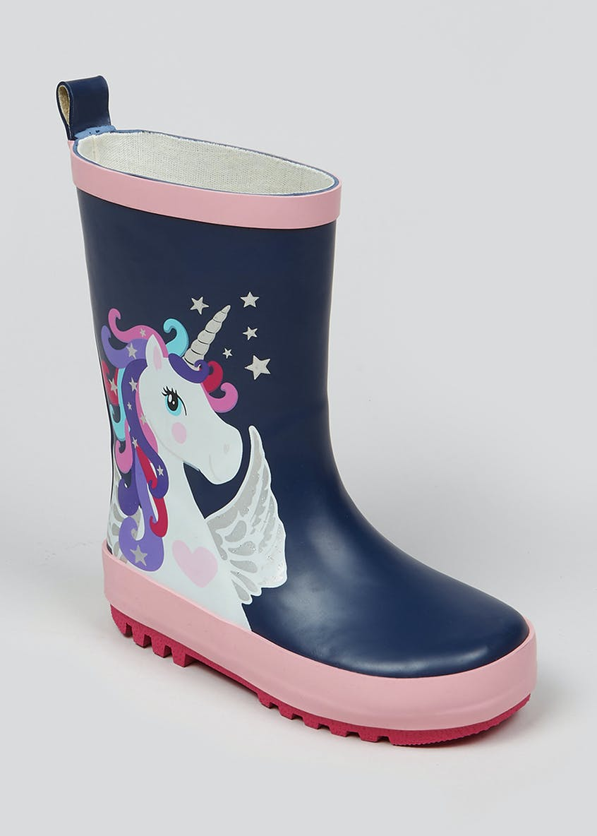 Girls Navy Unicorn Rubber Wellies (Younger 4-12)