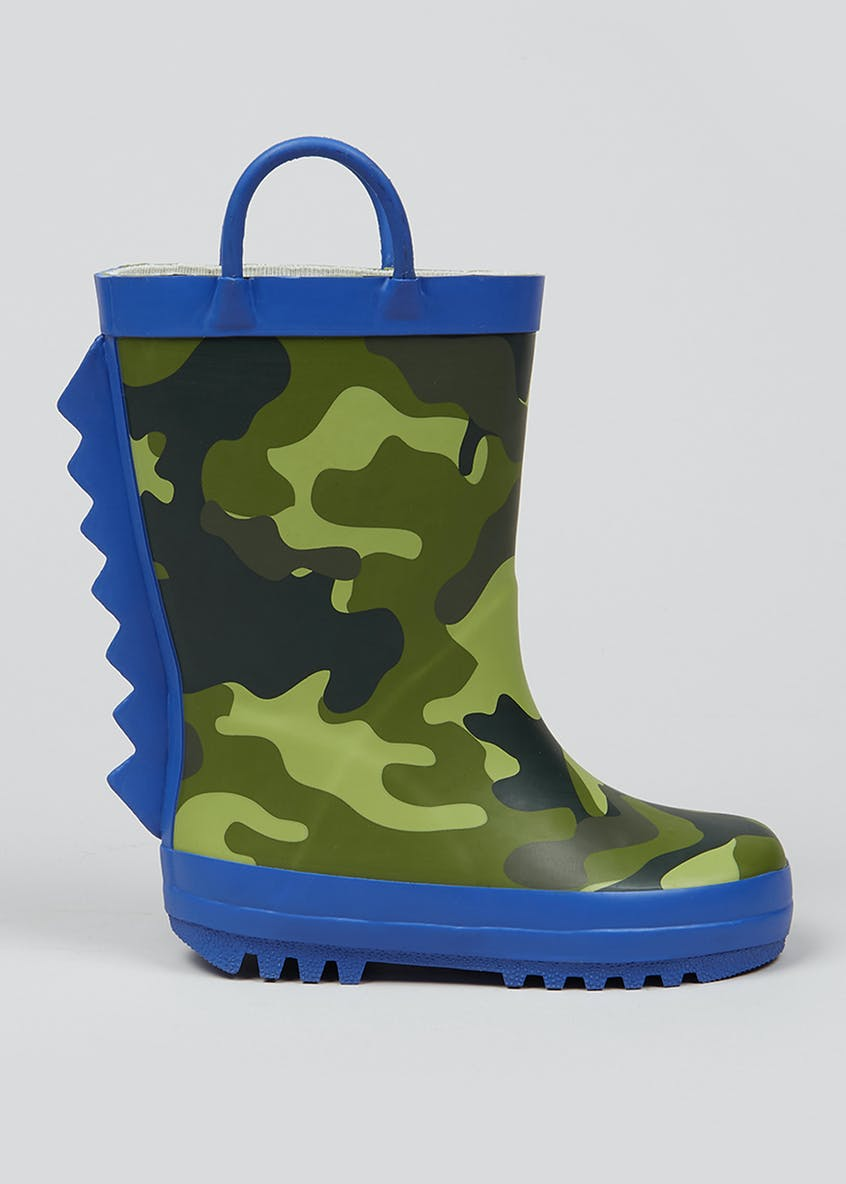 Kids Camo Dinosaur Wellies (Younger 4-12)