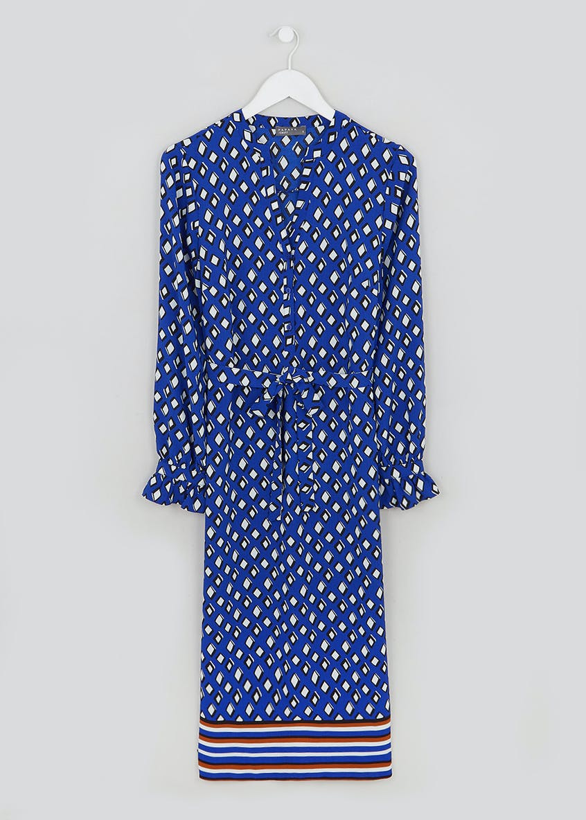 Blue Long Sleeve Printed Shirt Dress