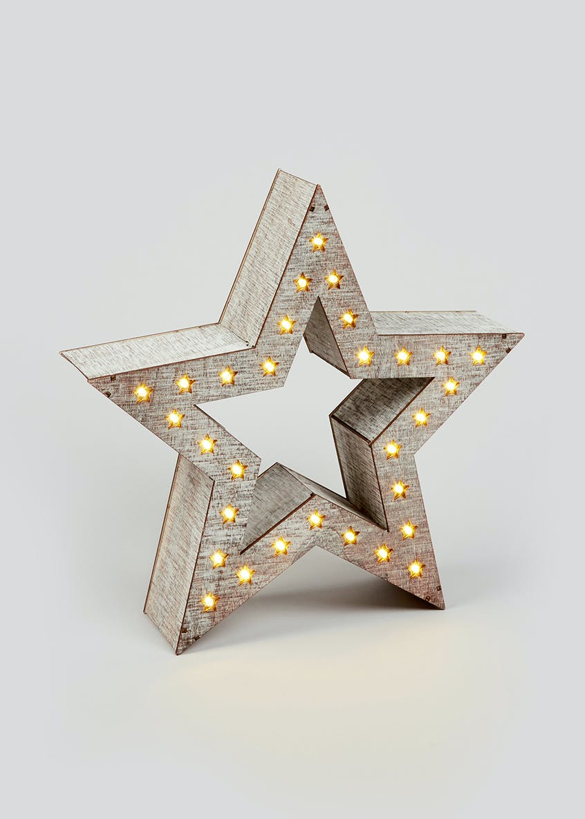 LED Wooden Star (35cm x 33cm x 8cm)