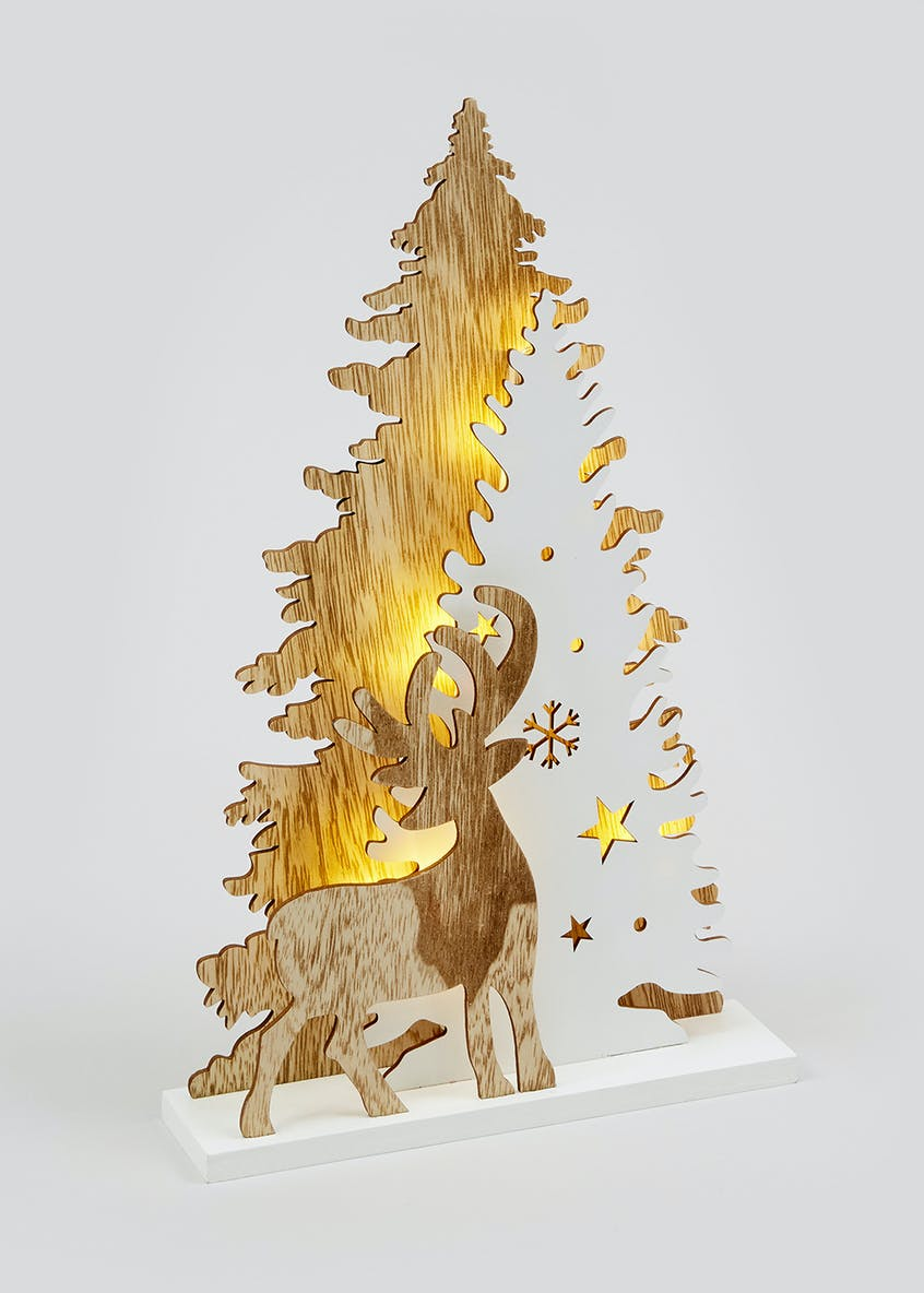 Wooden Stag & Christmas Tree LED Decoration