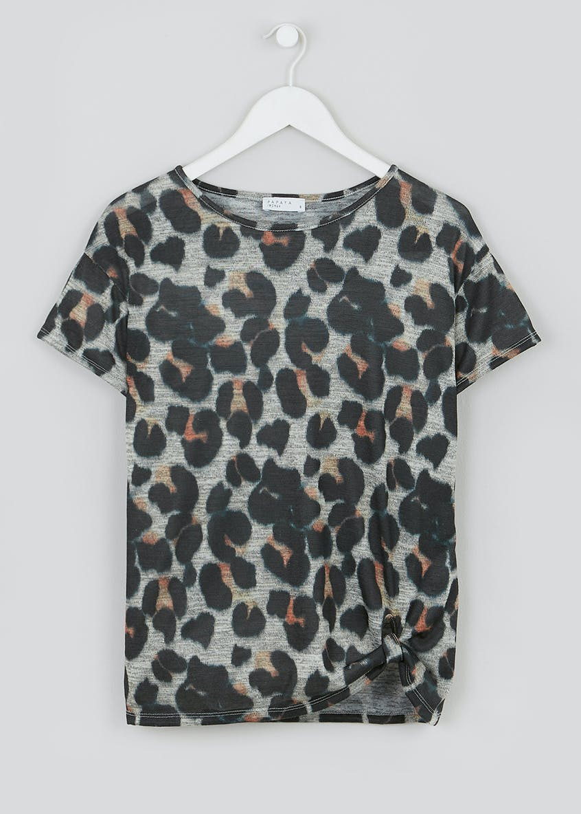 Animal Print Knot Front T-Shirt
