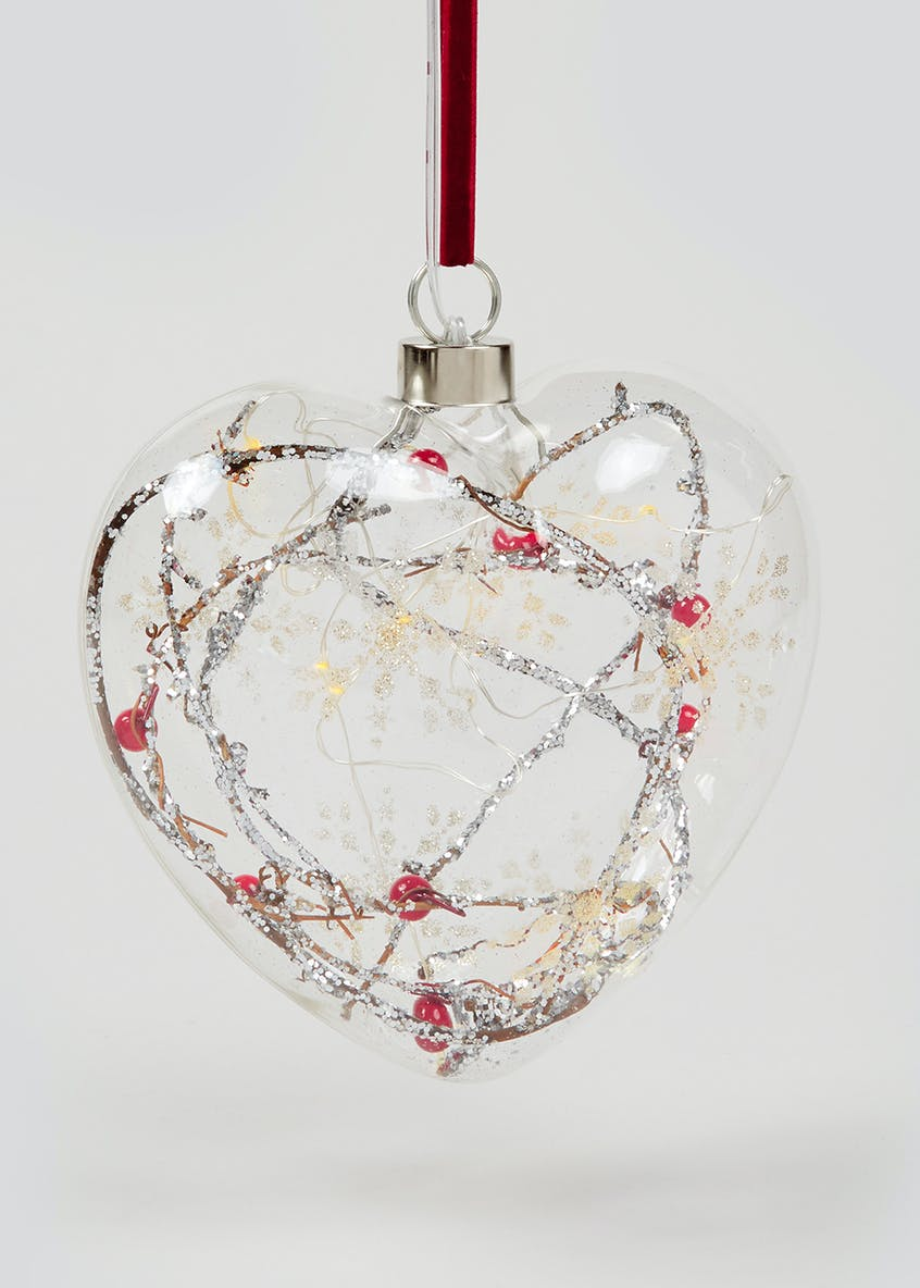 LED Berry Filled Heart Christmas Decoration (15cm x 7cm)