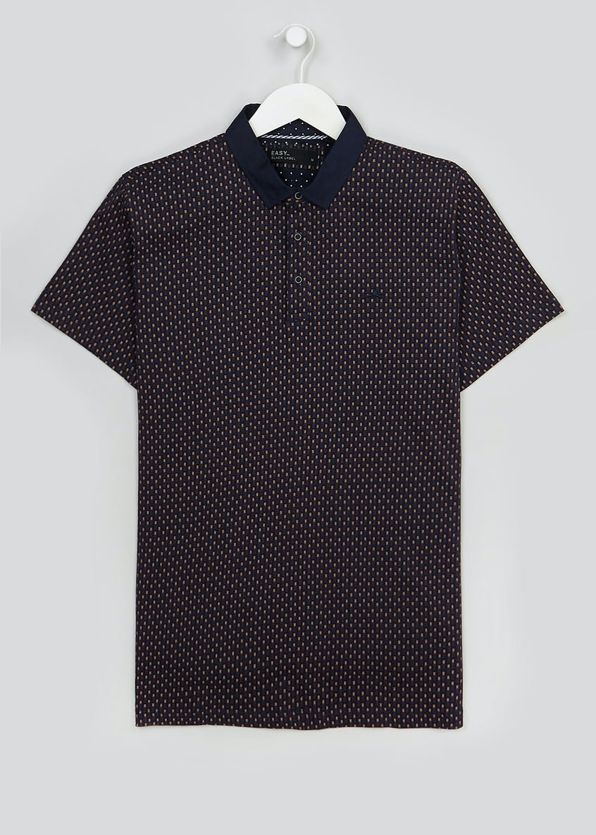 Easy Black Label Short Sleeve Printed Polo Shirt