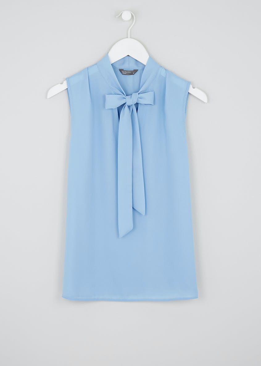Blue Sleeveless Pussybow Blouse