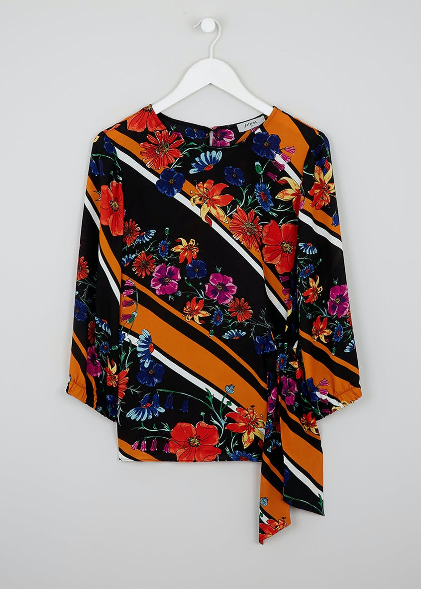 Soon Floral Print Tie Front Blouse