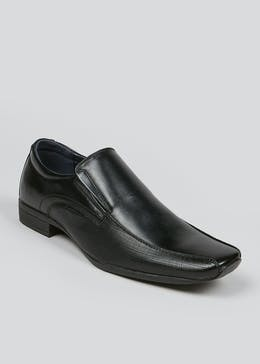 Black Tramline Slip On Shoes