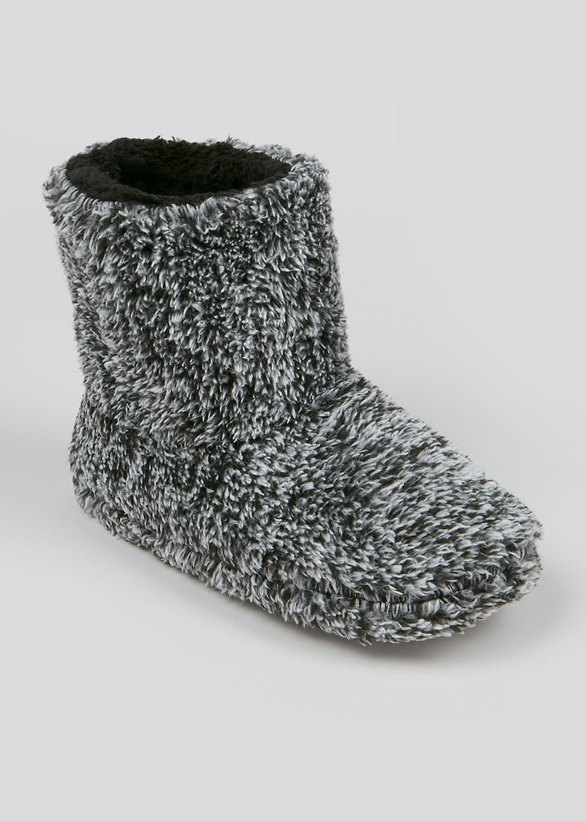 Kids Grey Fluffy Slipper Boots (Younger 10 Older 2)