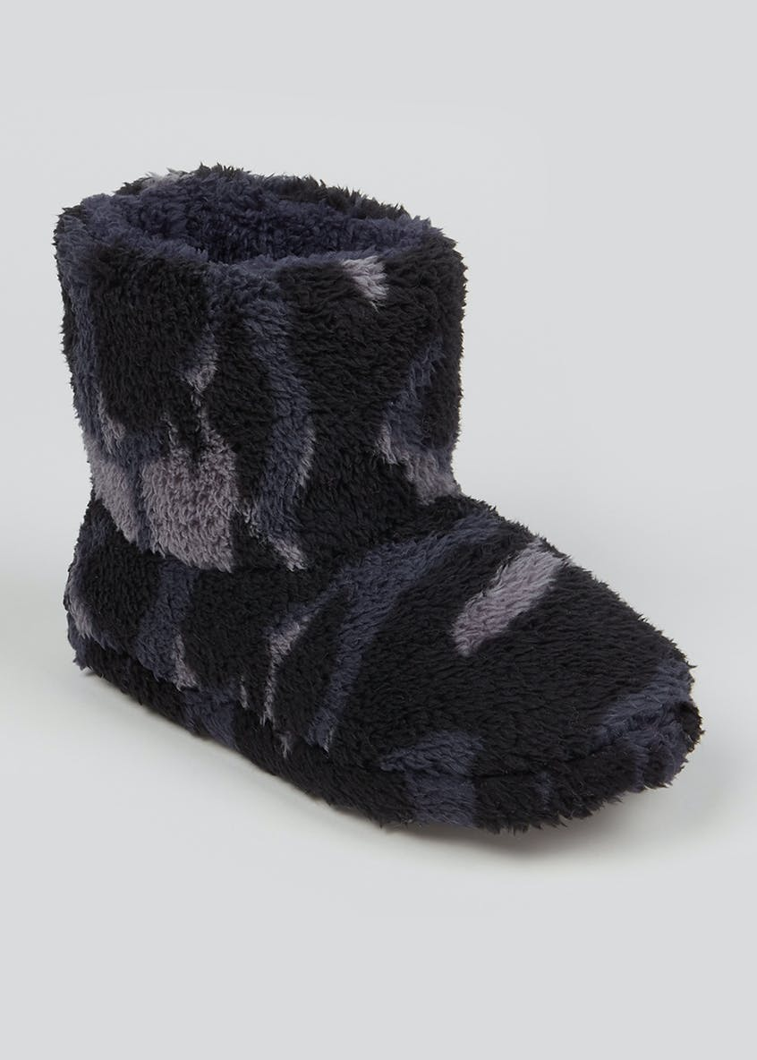Kids Navy Camo Slipper Boots (Younger 10-Older 6)