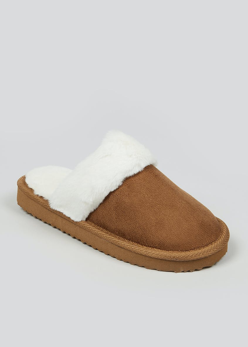 Faux Fur Lined Mule Slippers (Younger 10-Older 5)