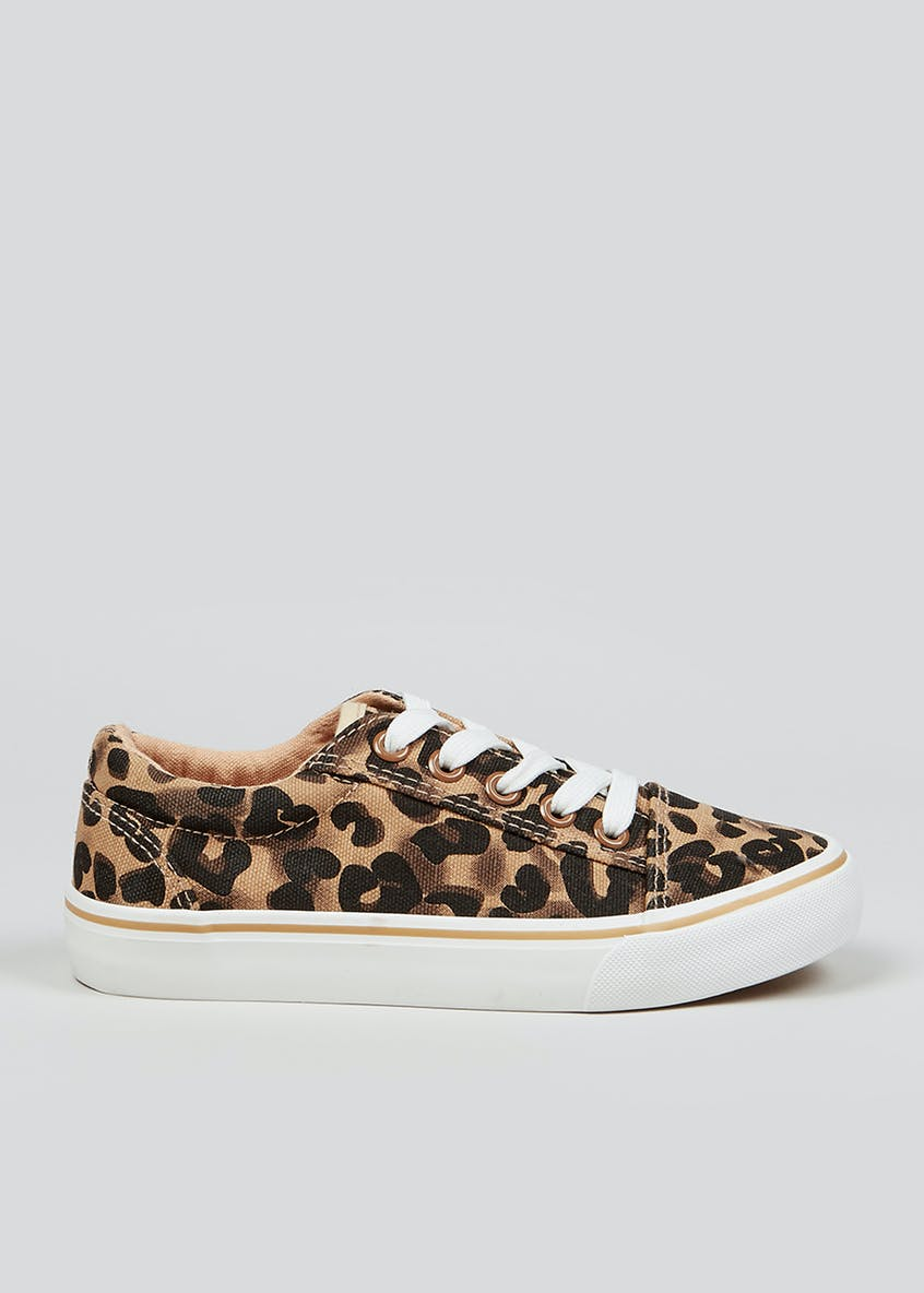 Lace Up Leopard Print Canvas Pumps (Younger 10-Older 5)