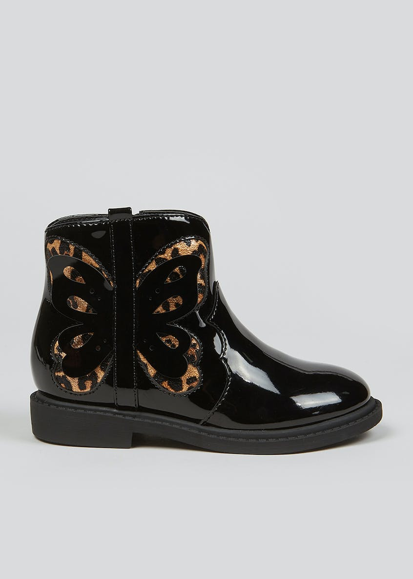 Black Butterfly Detail Boots (Younger 4-12)