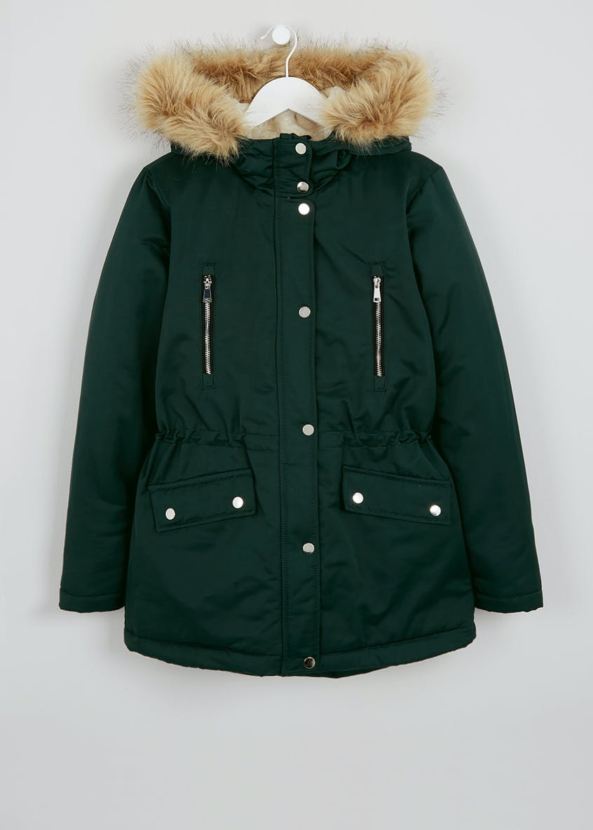 Teal Fur Lined Parka