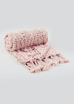 Hand Knitted Throw Blanket (150cm x 130cm)