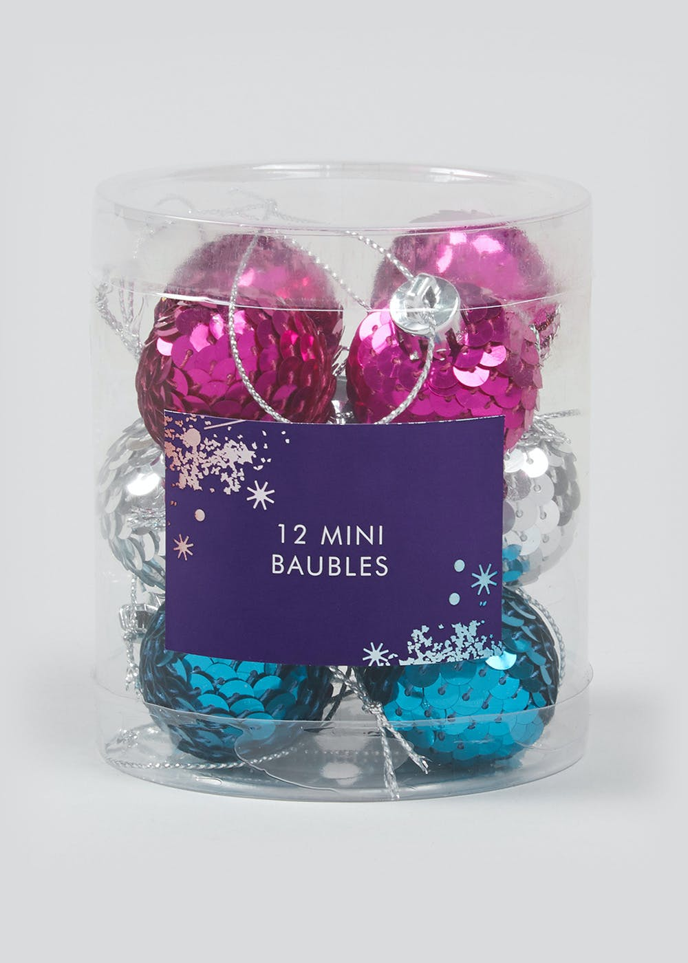 12 Pack Mini Sequin Christmas Tree Baubles – Multi