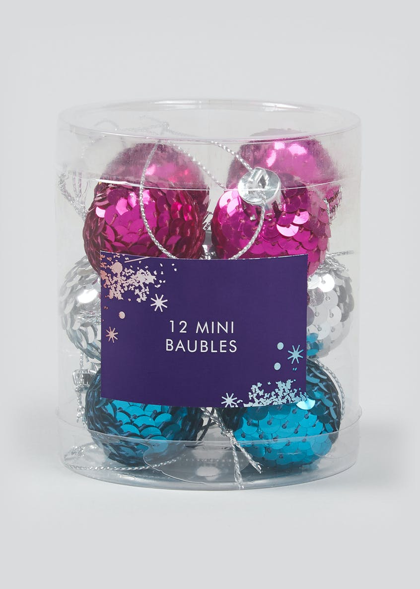 12 Pack Mini Sequin Christmas Tree Baubles