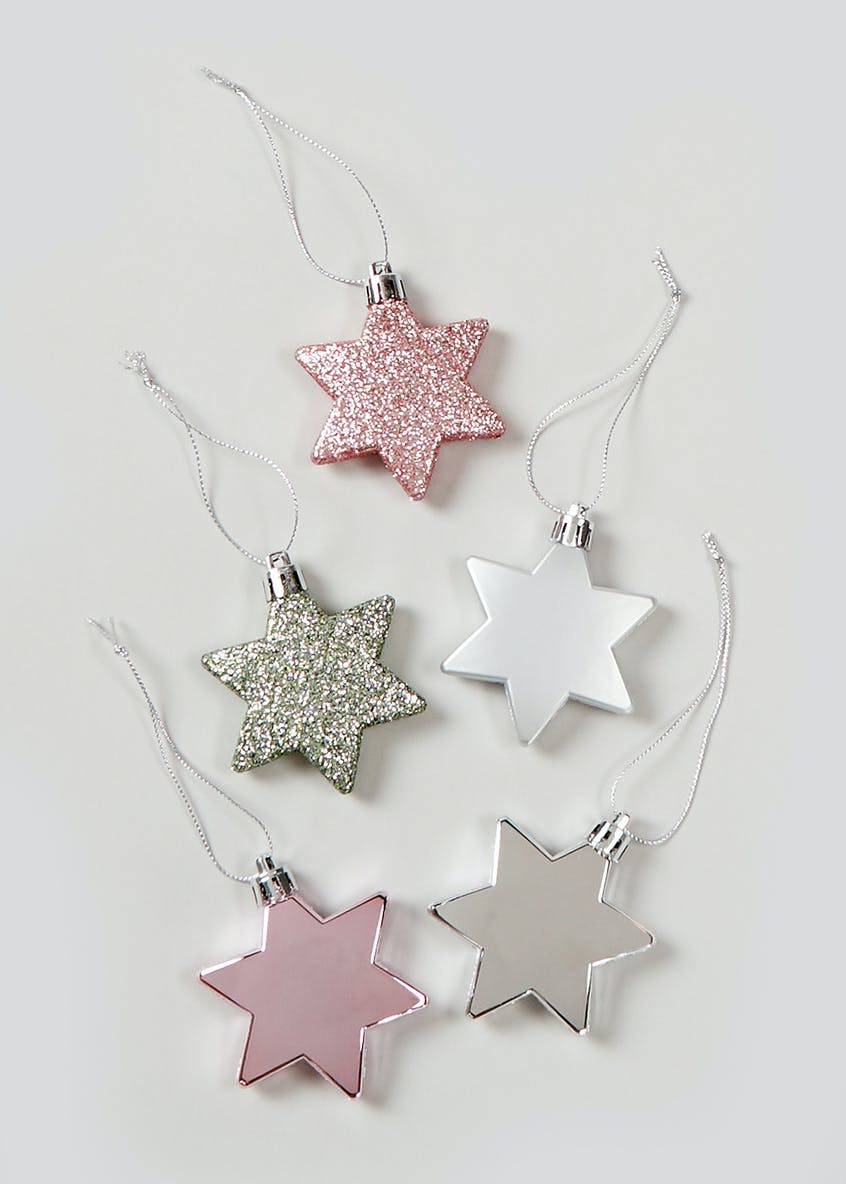 10 Pack Shatterproof Star Christmas Tree Decorations (6cm x 1cm)