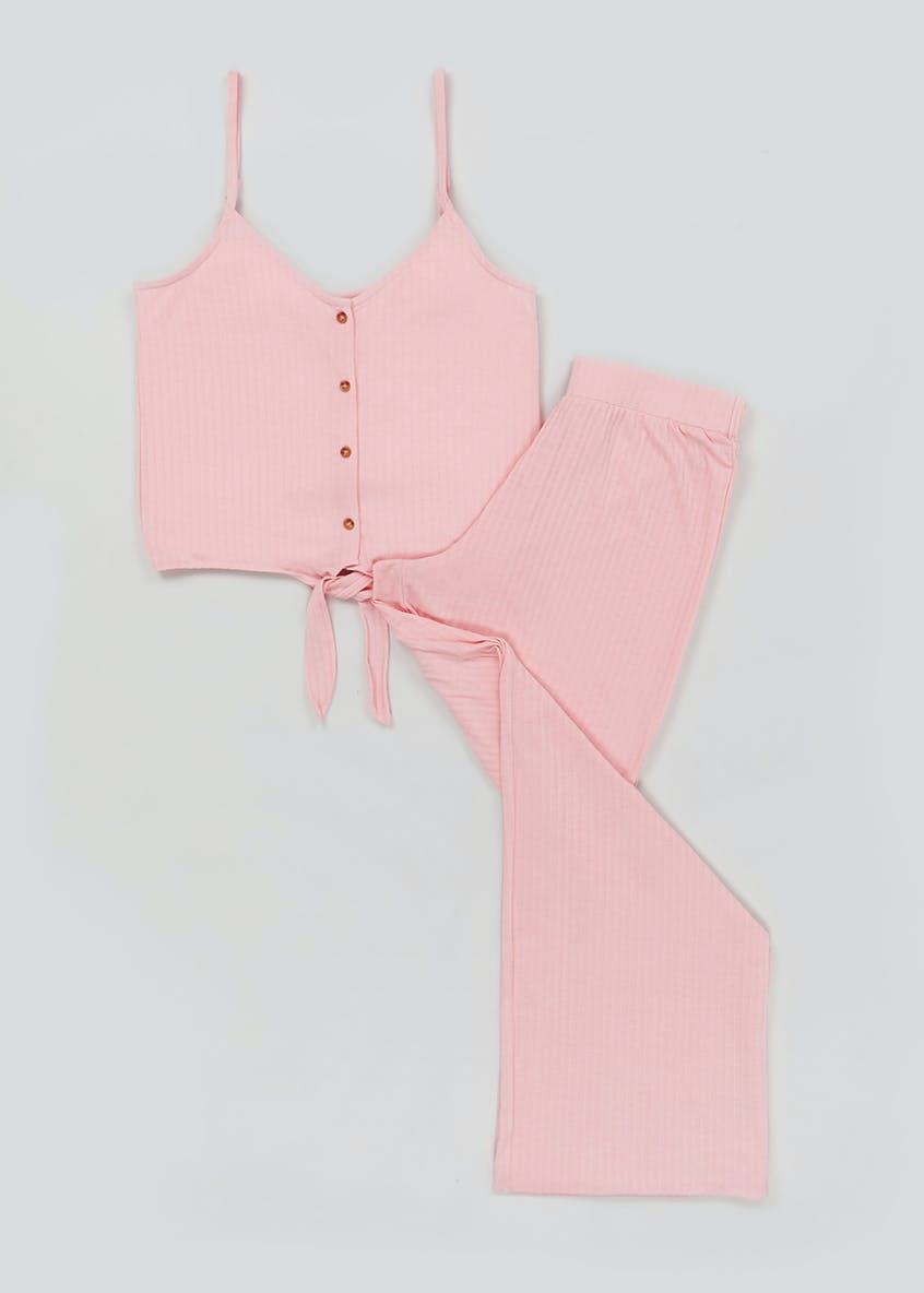 Ribbed Tie Front Pyjama Set