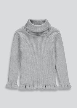 Girls Frill Ribbed Roll Neck Jumper (9mths-6yrs)