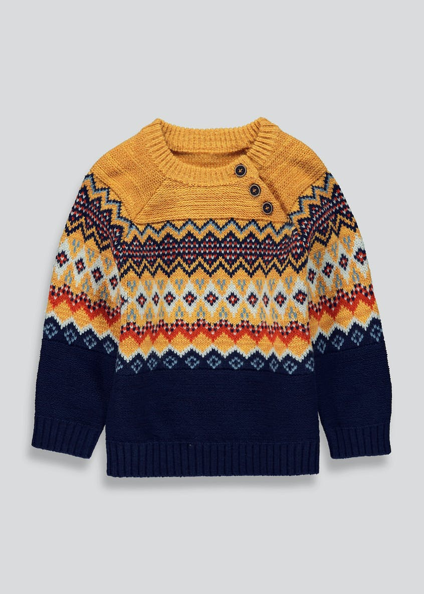 Boys Fair Isle Button Jumper (9mths-6yrs)