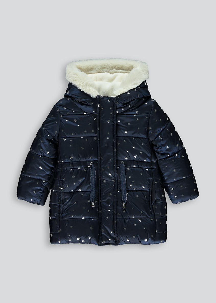 Girls Pearlised Padded Hooded Coat (9mths-6yrs)