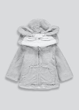 Kids Grey Bear Faux Fur Jacket (9mths-6yrs)
