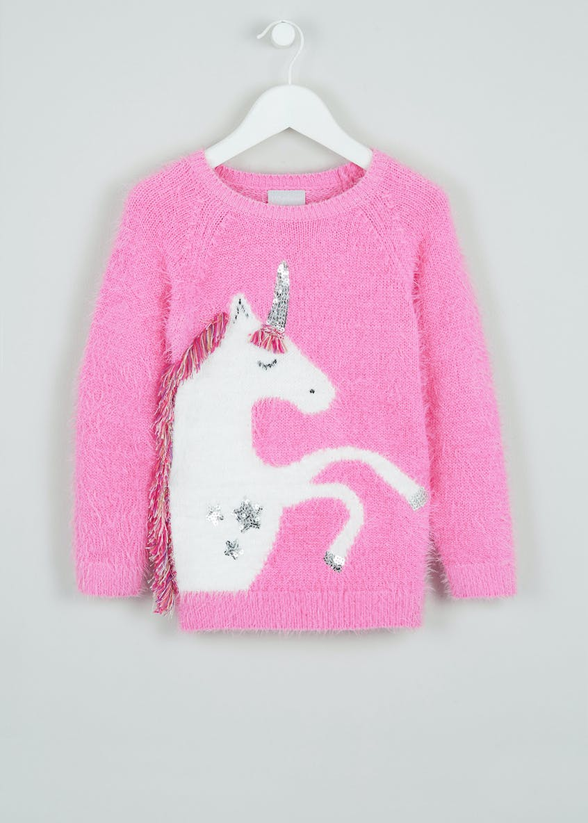 Girls Fringed Unicorn Jumper (4-13yrs)