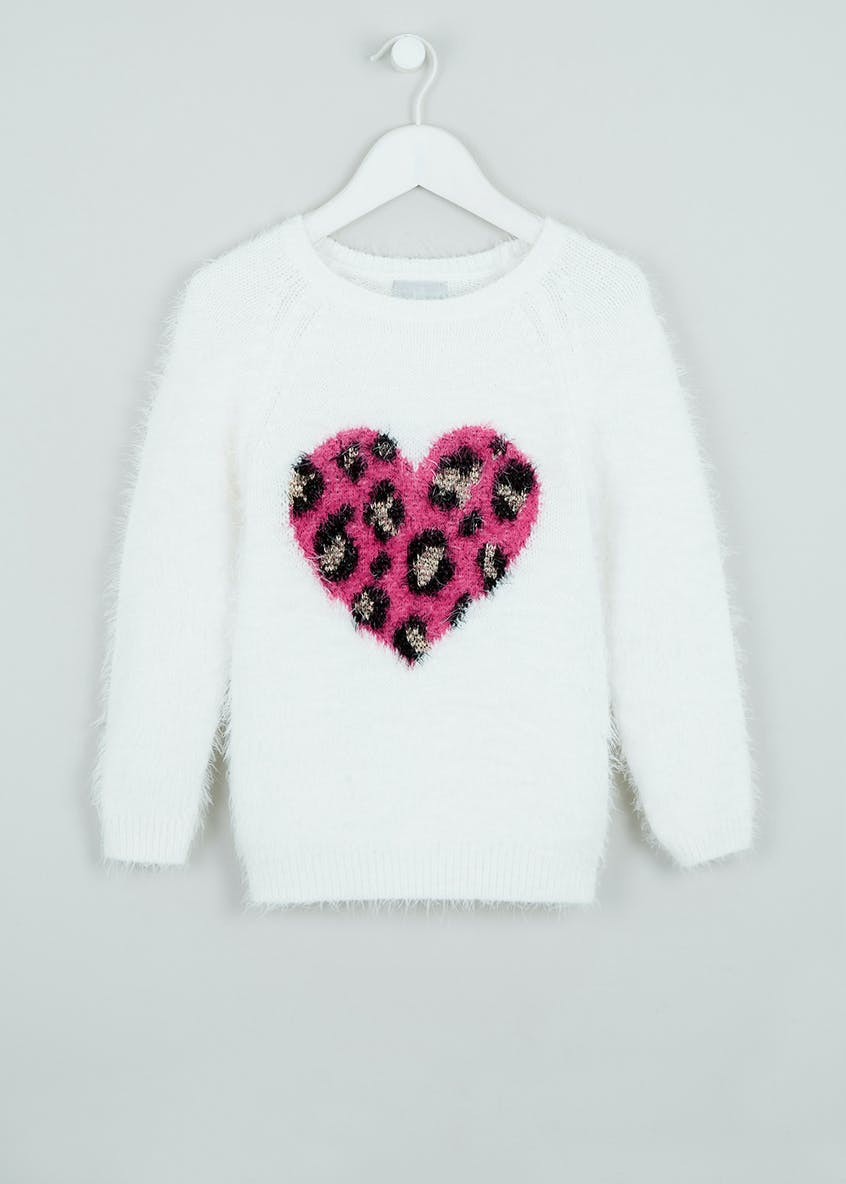 Girls Leopard Print Heart Jumper (4-13yrs)