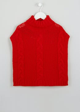 Girls Roll Neck Cable Cape Jumper (4-13yrs)