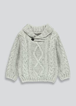Boys Cable Knit Shawl Jumper (9mths-6yrs)