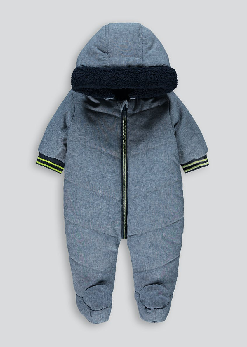Unisex Blue Padded Snowsuit (Tiny Baby-18mths)