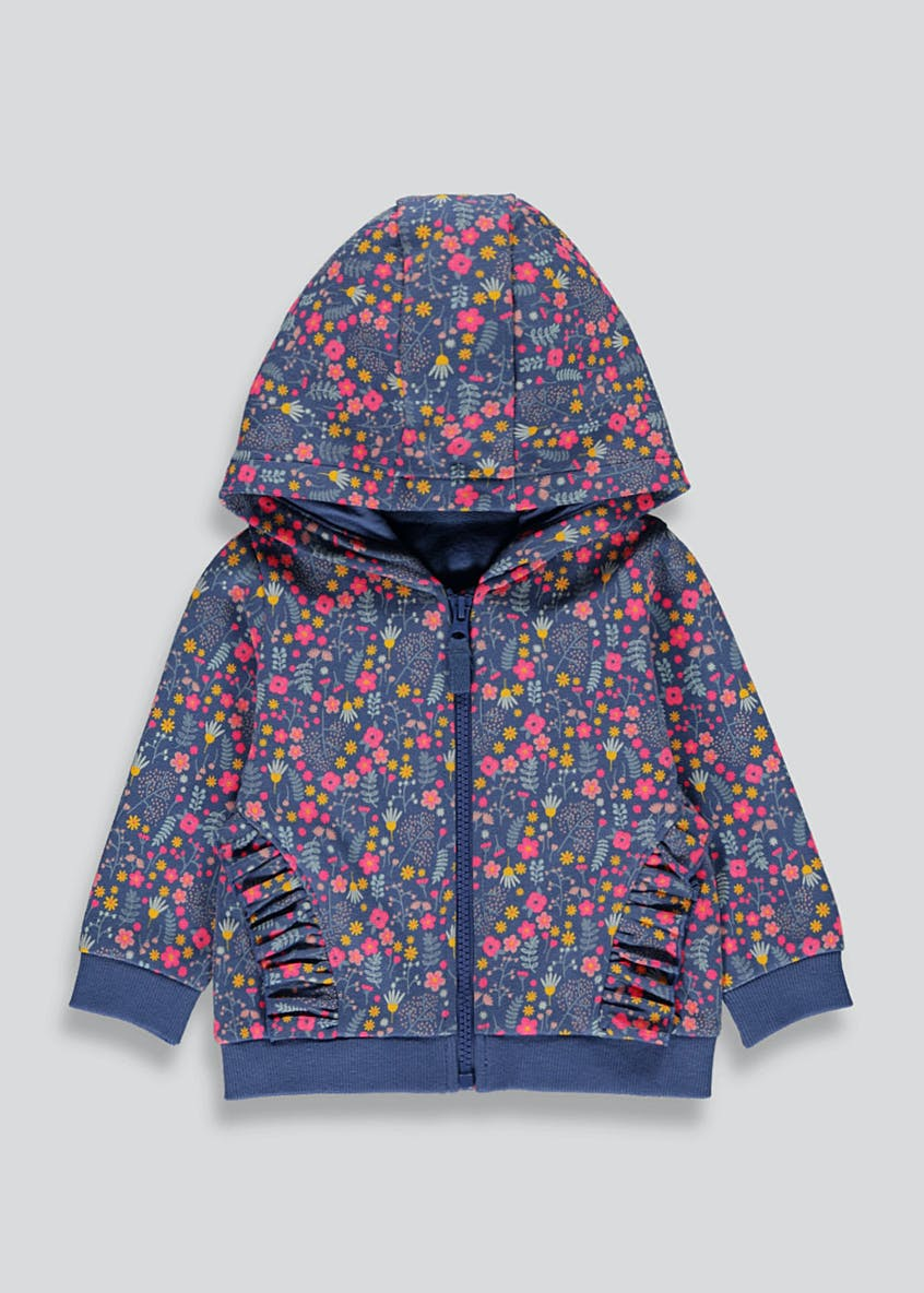 Girls Floral Frill Zip Through Hoodie (9mths-6yrs)