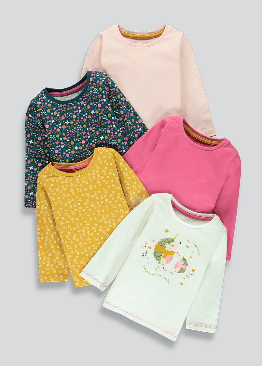 Girls 5 Pack Deer T-Shirts (9mths-6yrs)
