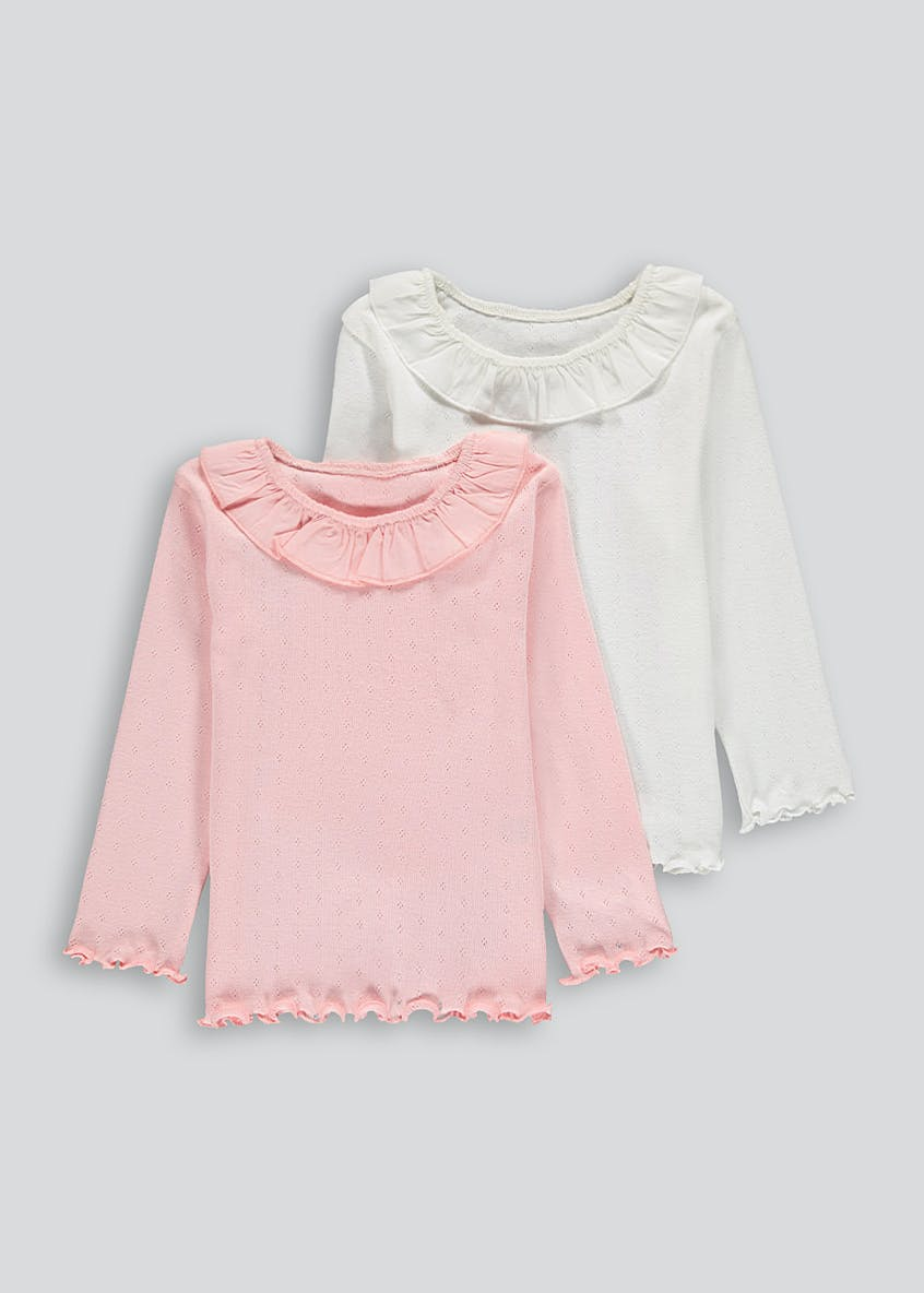 Girls 2 Pack Long Sleeve Pointelle Tops (9mths-6yrs)