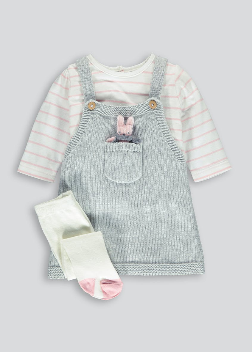 Girls Bunny Knitted Pinafore T-Shirt & Tights Set (Newborn-18mths)