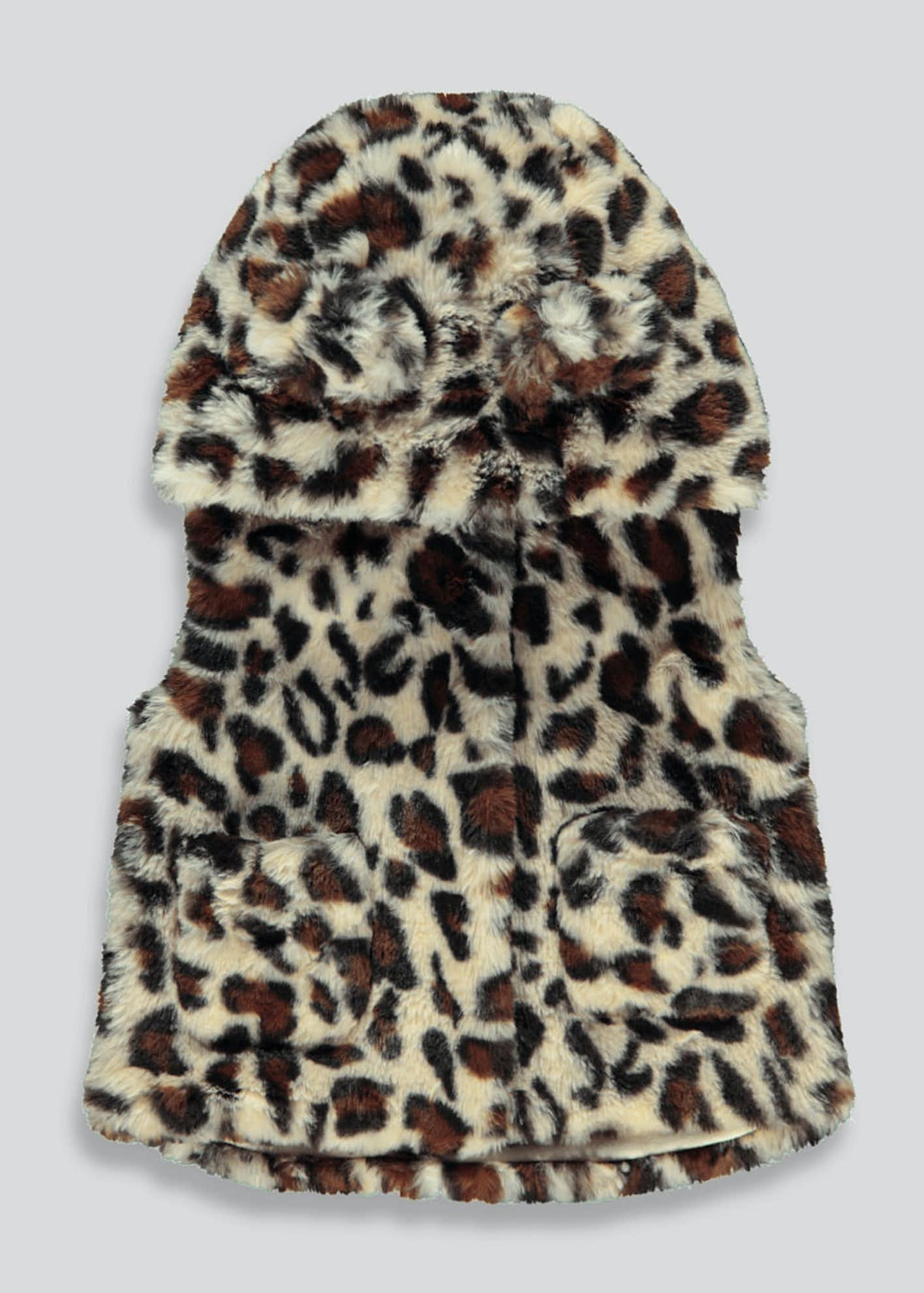Girls Cream Leopard Print Faux Fur Gilet (9mths-6yrs)