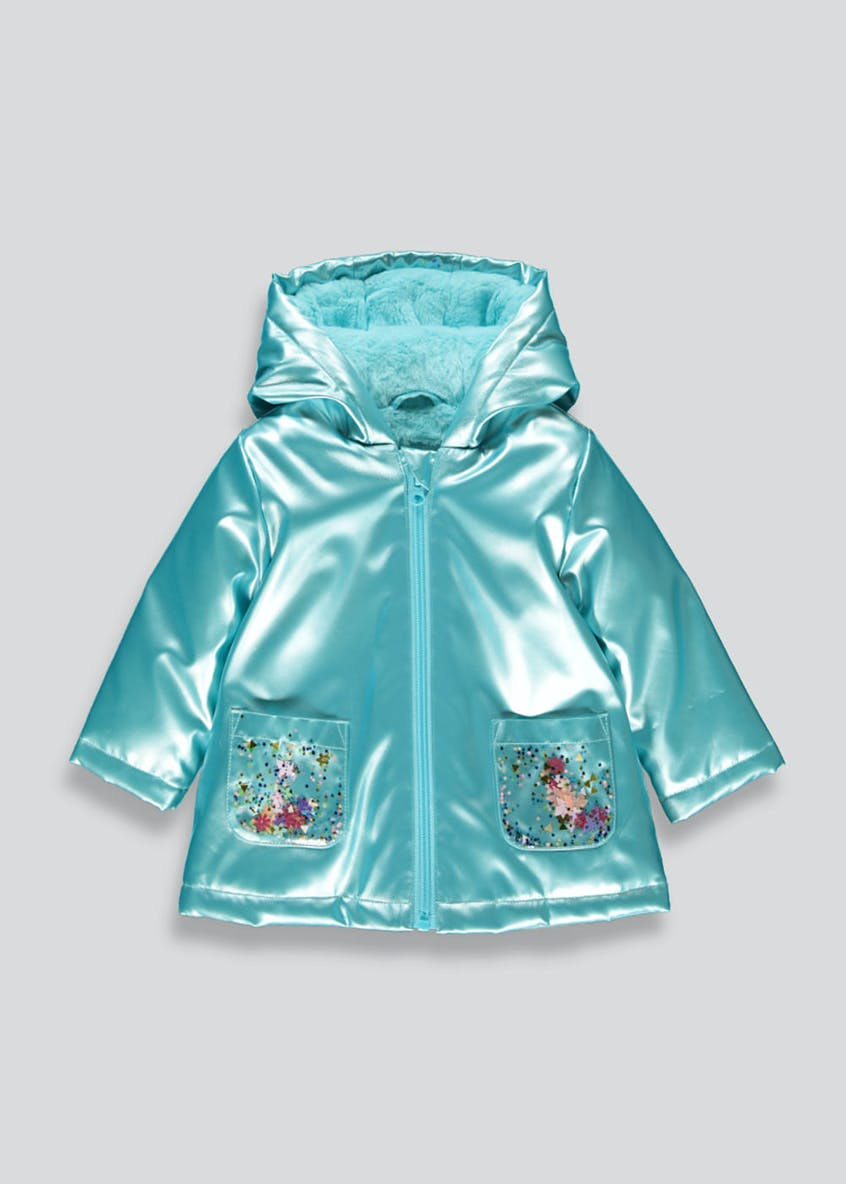 Girls Blue Metallic Mac (9mths-6yrs)
