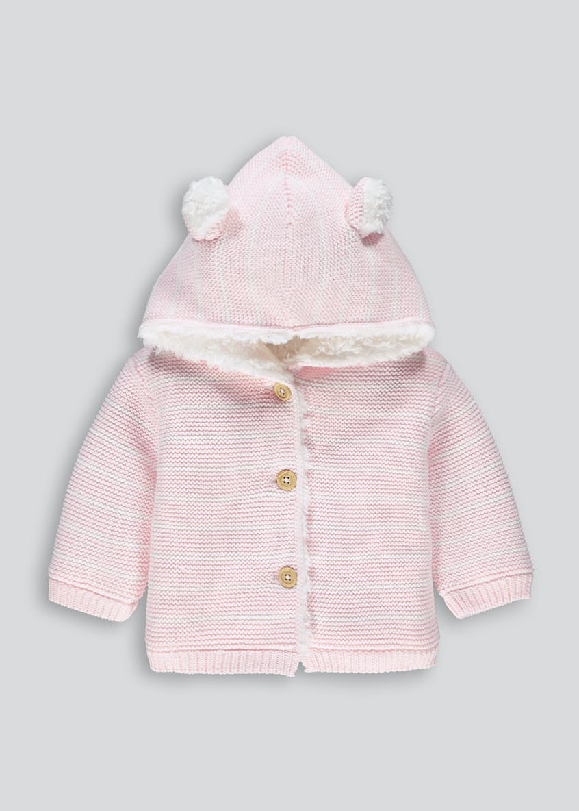 Girls Pink Stripe 3D Ears Cardigan (Tiny Baby-18mths)