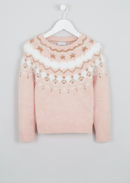 Girls Metallic Detail Fair Isle Jumper (4-13yrs)