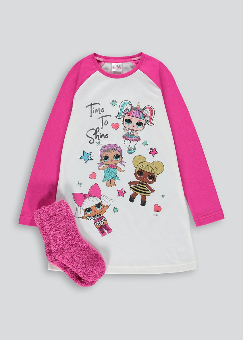 Kids L.O.L. Nightie & Slipper Socks Set (6-11yrs)