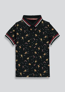 Boys Short Sleeve Gingerbread Christmas Polo Shirt (9mths-4yrs)