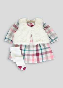 Girls Check Dress Shrug & Tights Set (Tiny Baby-18mths)